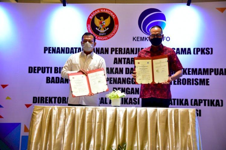Waspadai Aktivitas Terorisme di Ruang Siber, Deputi Bidang Penindakan dan Pembinaan Kemampuan BNPT Sepakati Perjanjian Kerja Sama dengan Direktorat Jenderal Aplikasi Informatika Kemkominfo